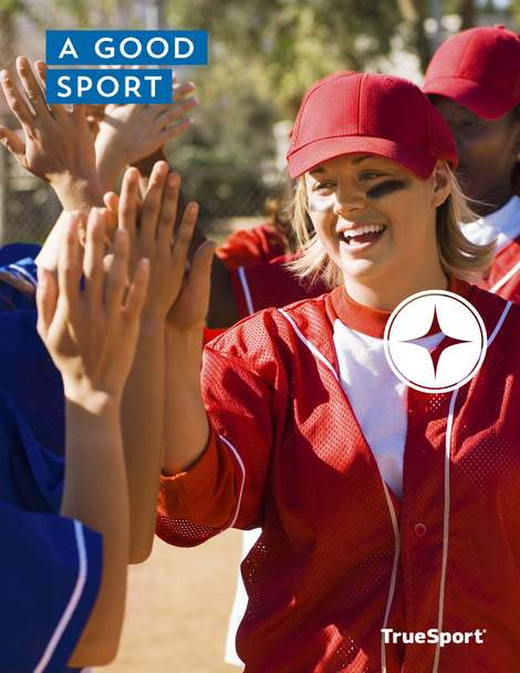 A Good Sport Lesson cover: teens high fiving after a game.
