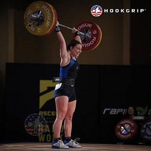 Abby Raymond during a weightlifting competition.