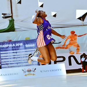 Amara Mbinowu celebrating a netball win.