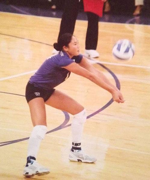 Candace Vering playing indoor volleyball