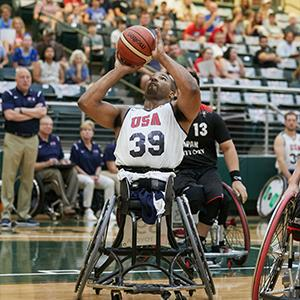 Trey Jenifer during a wheelchair basketball game.
