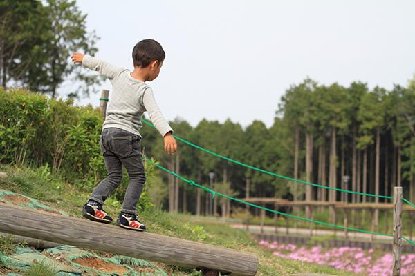 Young asian boy balancing on a log outside.