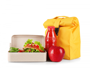 yellow lunch bag and red bottle