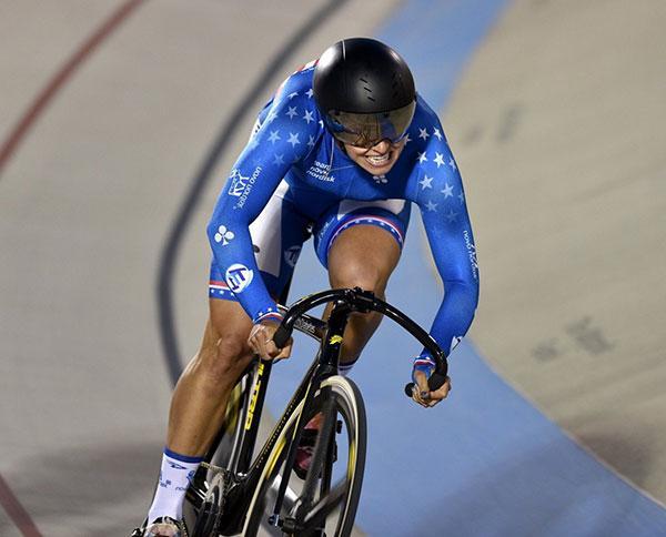 mandy marquardt racing on her track bike