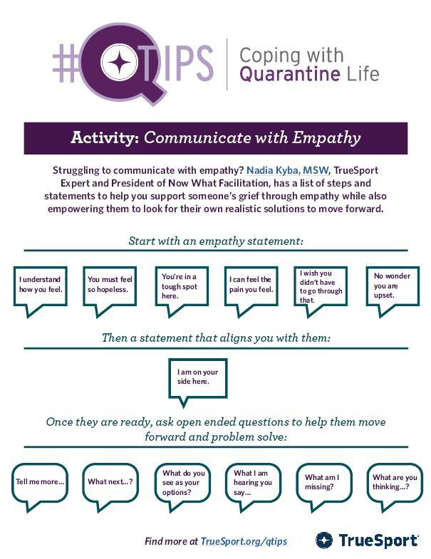 Smaller image of Q Tip Activity for Communicating with Empathy.