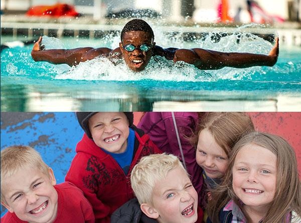 A collage of a young black male swimming over a group of white kids smiling.
