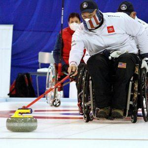 Steve Emt during a wheelchair curling competition.