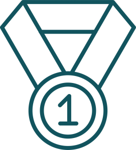 A graphic design of a medal that says #1.