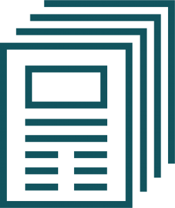 A graphic outline of a stack of papers.