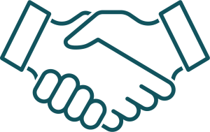 A graphic outline of two shaking hands.