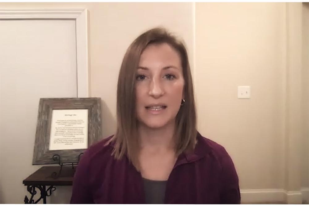 Video still of Kristen Ziesmer.
