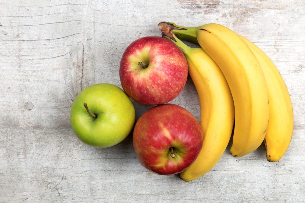 Apples and bananas.