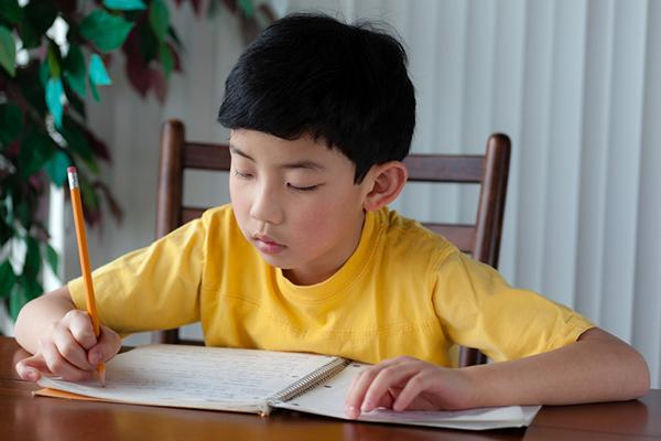 Young boy writing letter in a notebook.
