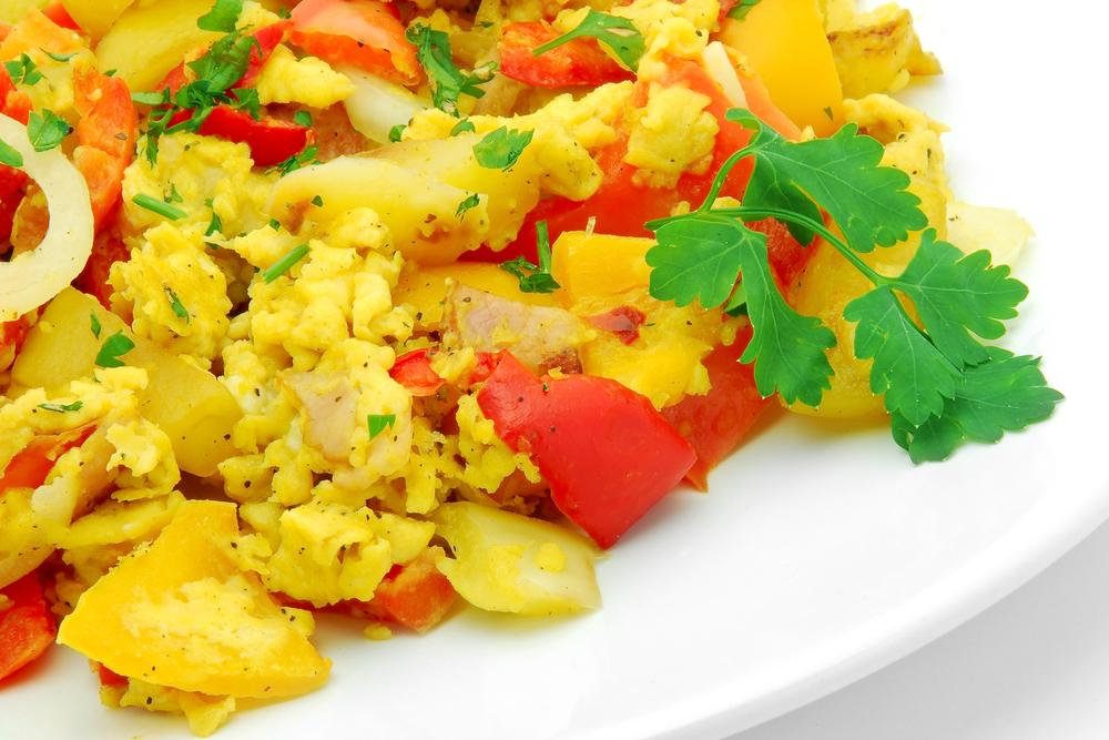 Egg scramble with a variety of vegetables.