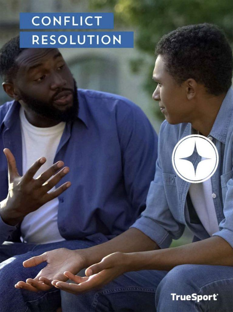 Conflict Resolution cover image of a father talking to his teenage son.