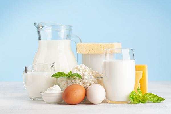 A variety of dairy products and eggs, including milk and cheese.