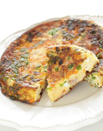 An egg and vegetable frittata.