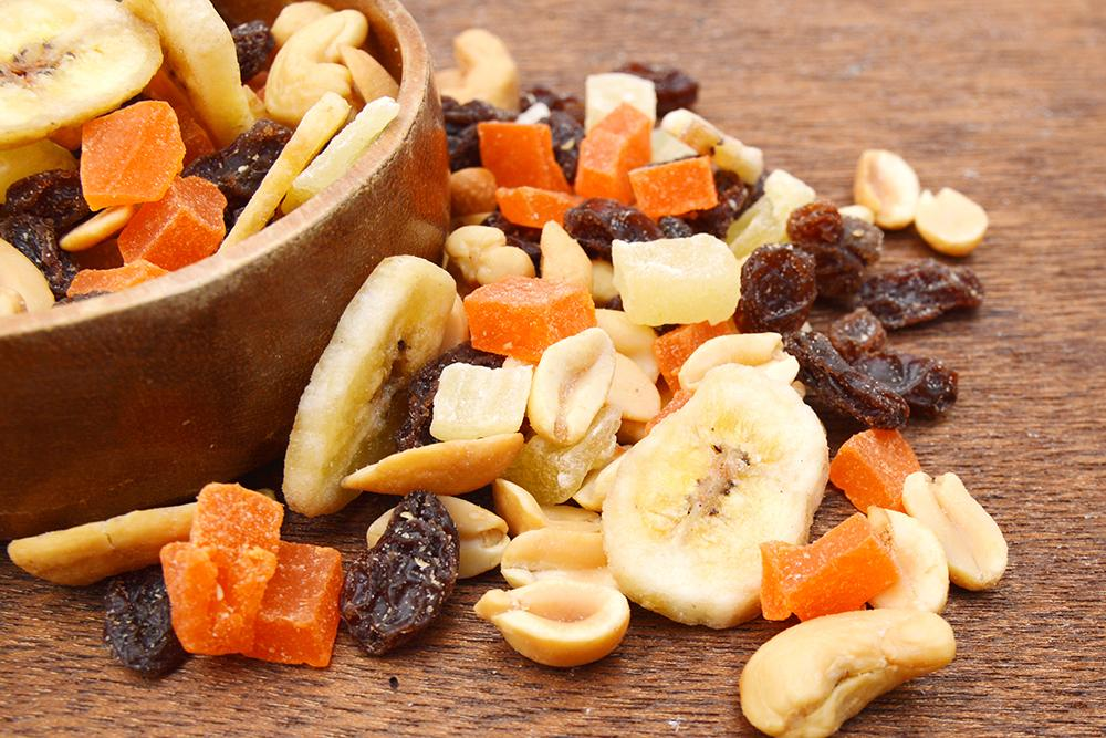 Bowl of nuts and dried fruit.
