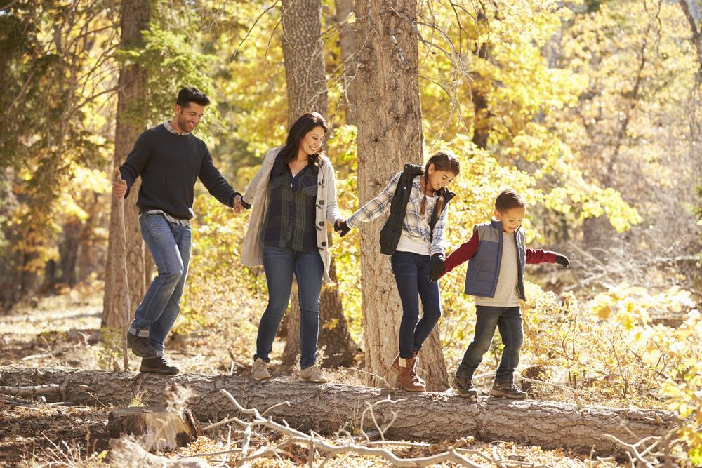 Hispanic family of four hiking in the woods.