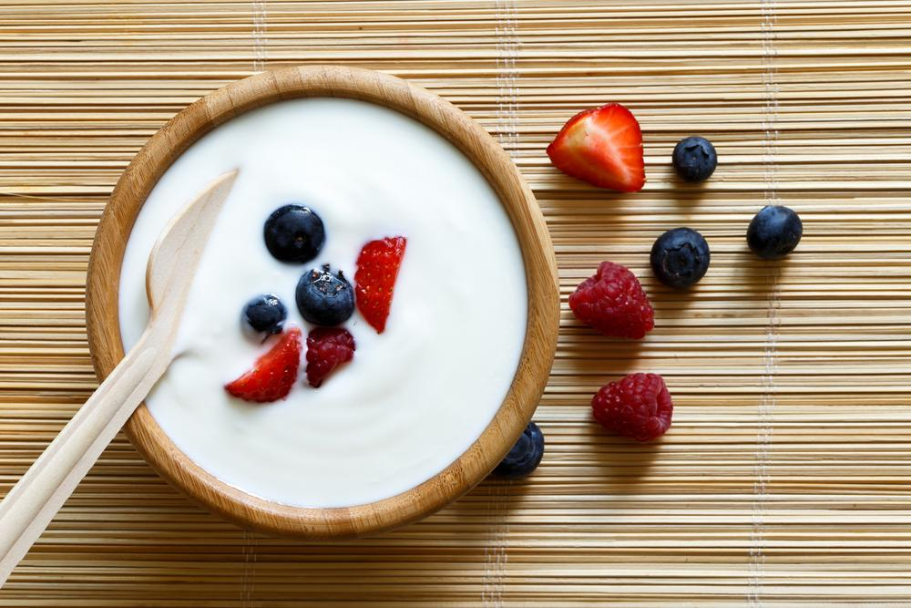 Greek yogurt with fruit mixed in.