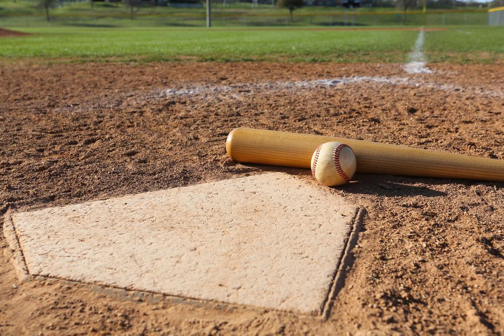 Home plate with a baseball and baseball bat.