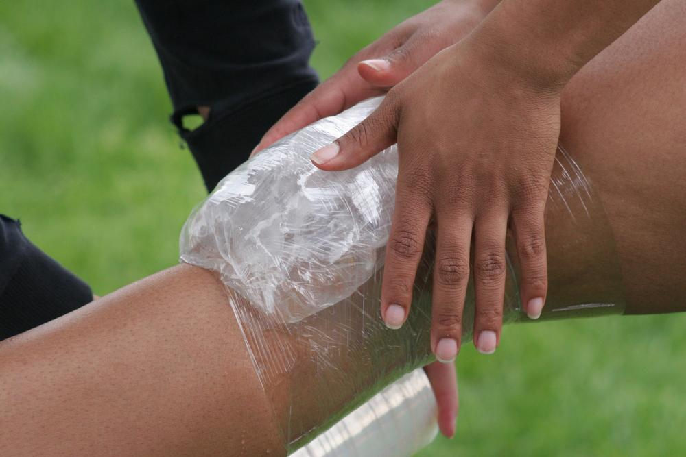 Ice wrapped on a knee.