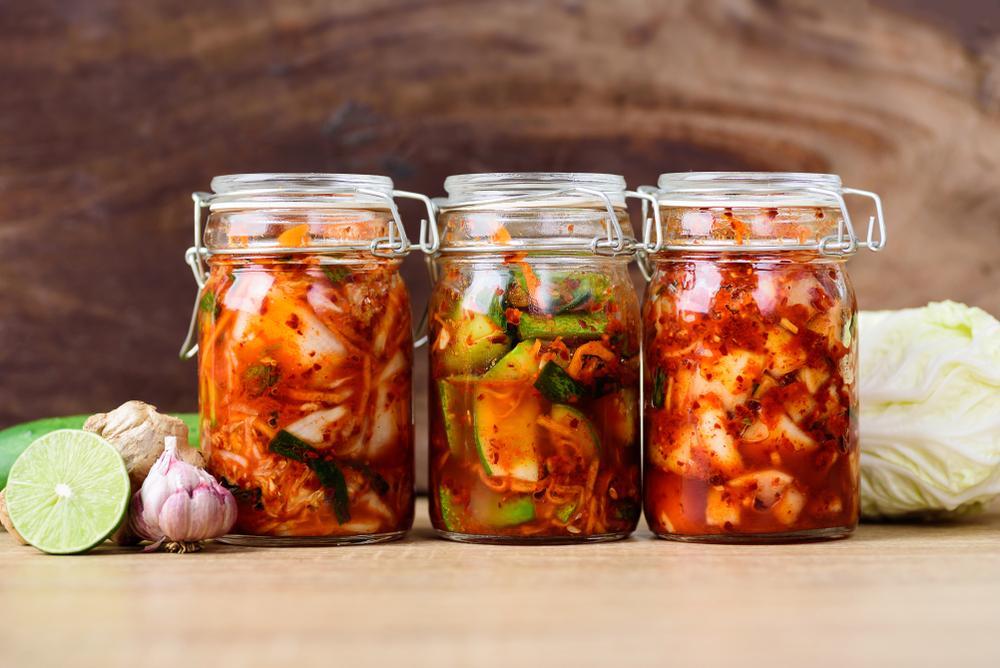 Three jars of kimchi.