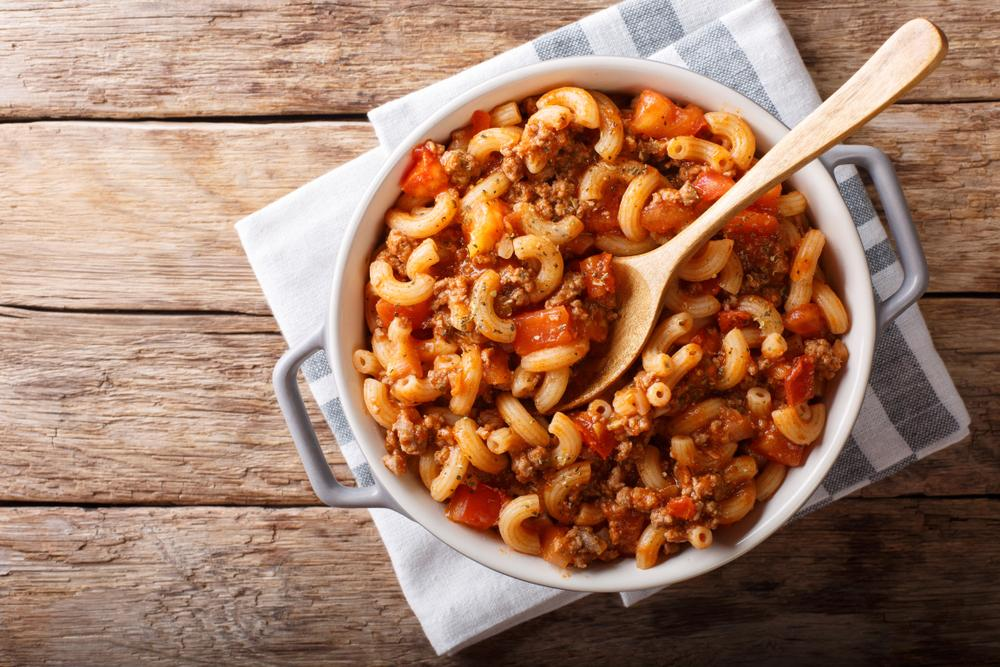 A stew with macaroni noodles.