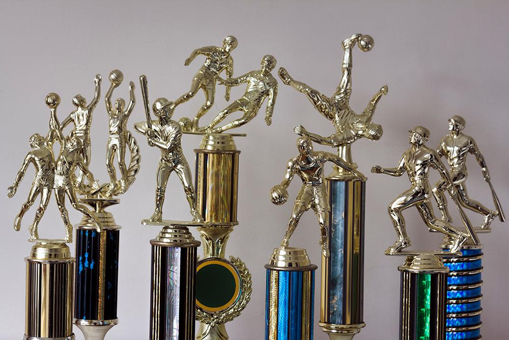 Variety of trophy for different sports.