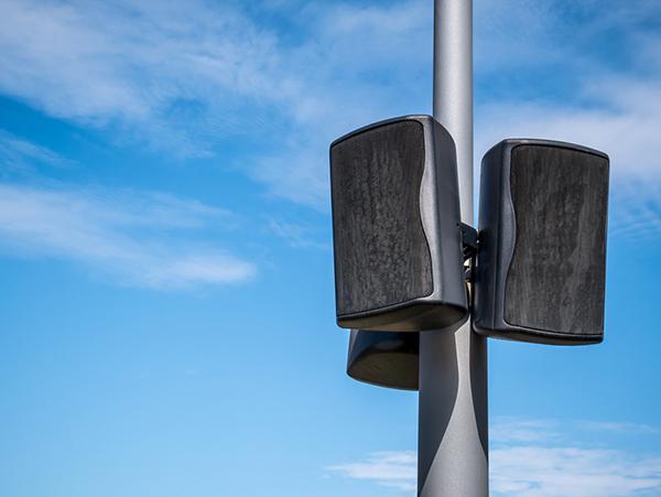 Outdoor stadium speakers.