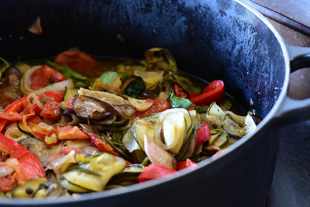 Close up of ratatouille in a pot.