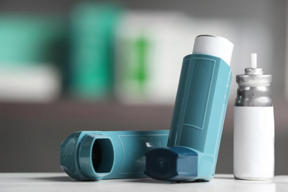 Close up of inhaler.