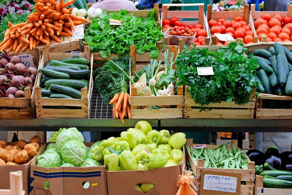 Vegetables at a farmer's market.