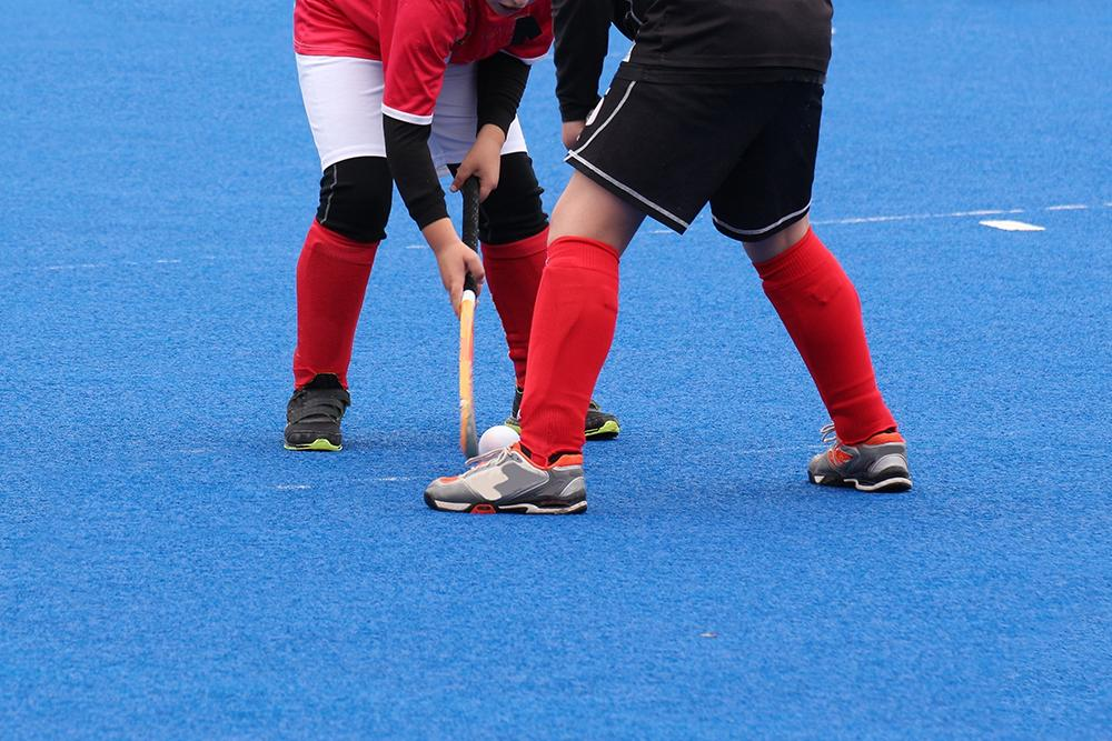 Two field hockey players facing off.