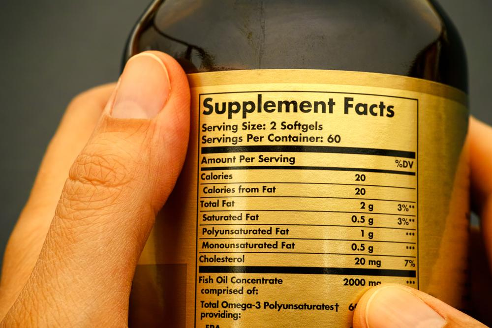 Close up of a supplements facts label for a fish oil supplement.