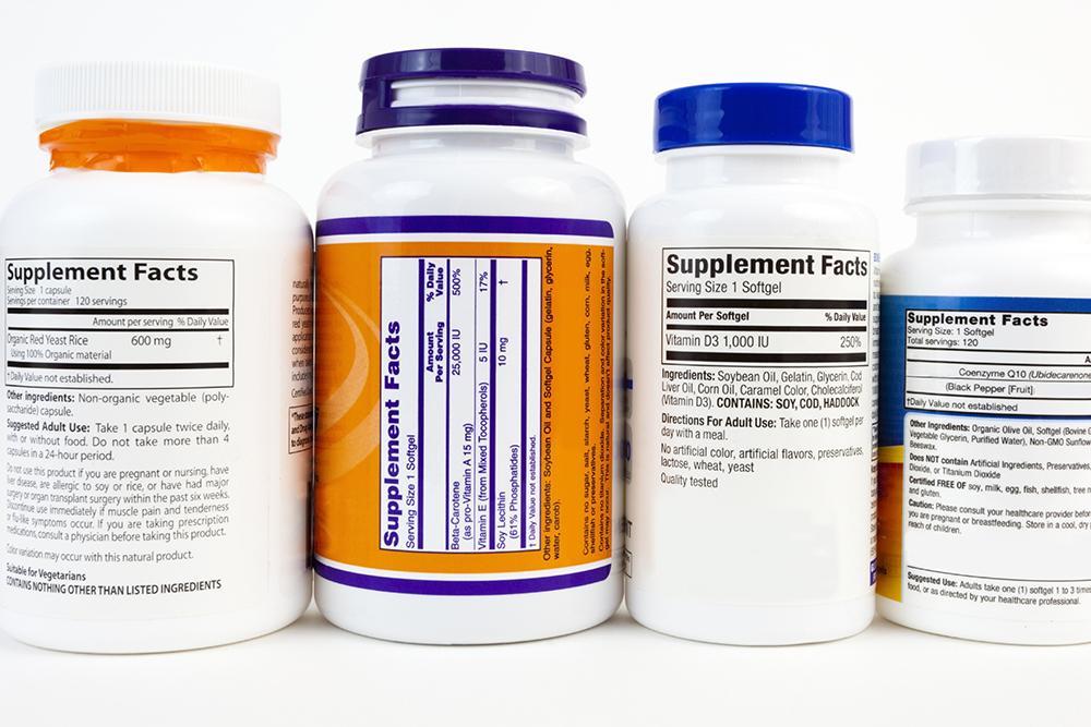 Various dietary supplement bottles.
