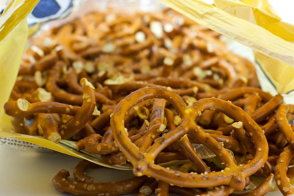 Close up of the inside of a bag of pretzels.