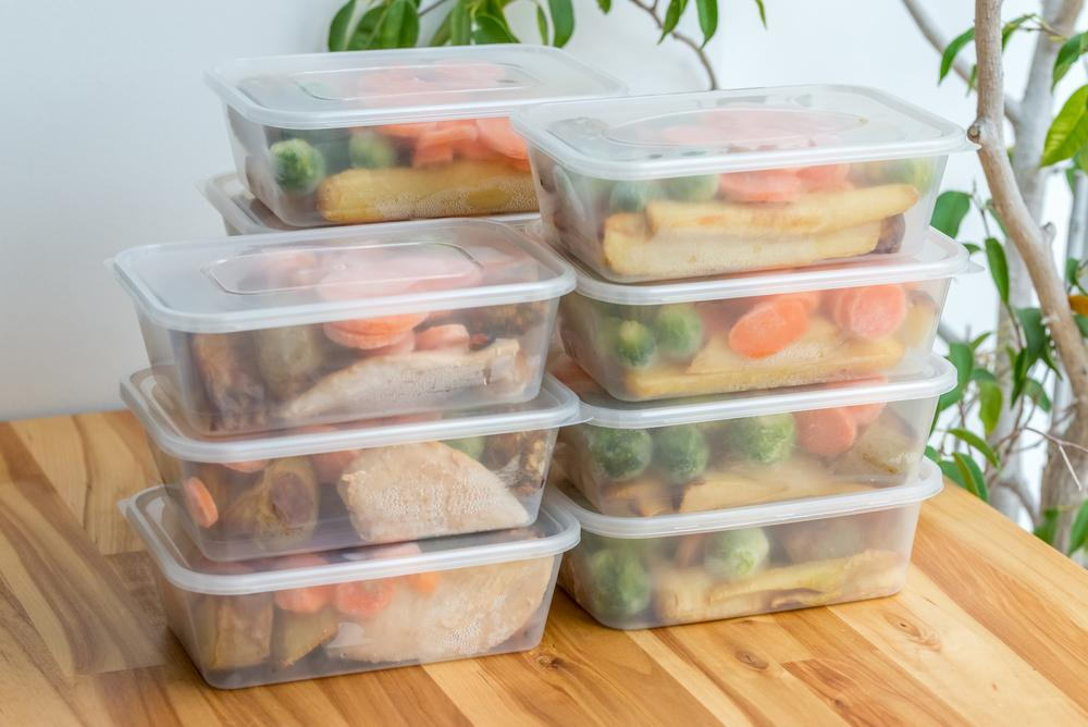 Meals stacked in tupperware containers.