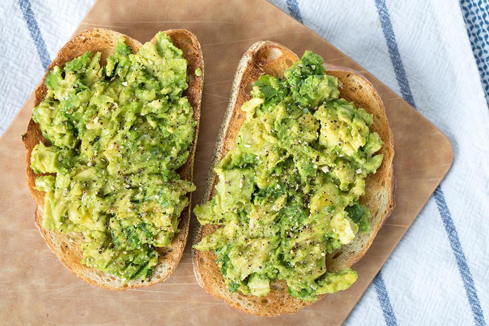 Close up of avocado toast.