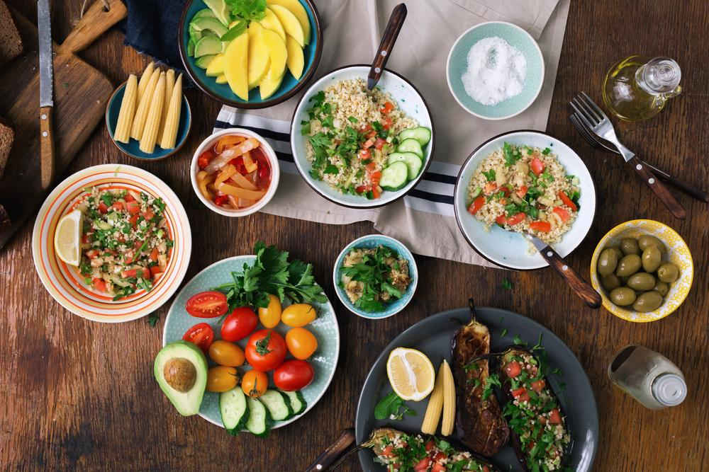 Large spread of vegetarian meals.
